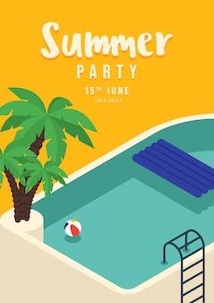 Piscina con cartel de fiesta de verano de palma