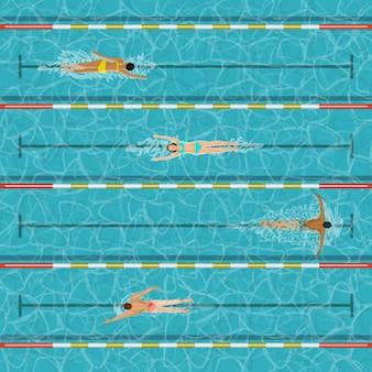 Piscina con gente. ilustración de actividad de personas de deportes acuáticos