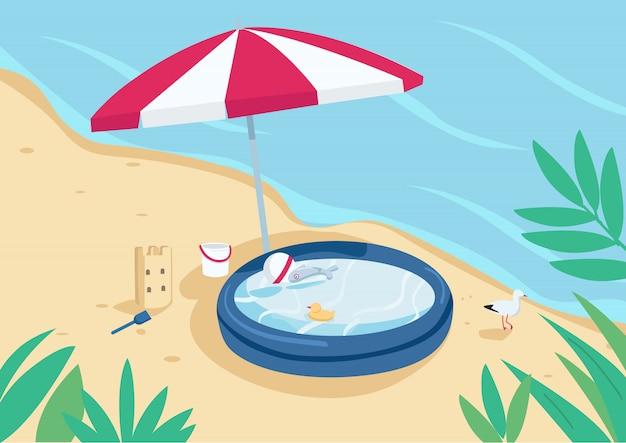 Piscina inflable y sombrilla en la ilustración de color plano de playa de arena. sombrilla, castillo de arena y piscina infantil. vacaciones de verano. paisaje de dibujos animados 2d de la costa con agua en el fondo