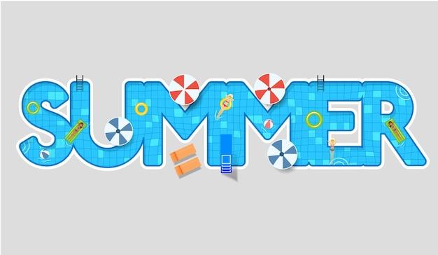 Piscina, natación, verano, tipo, diseño