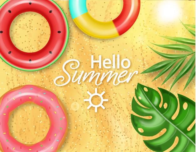 Piscina de verano y anillo de vida.