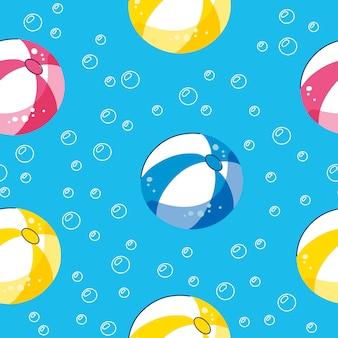 Piscina de verano flotando con bolas. patrón de vector inconsútil