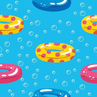 Piscina de verano flotante con círculo inflable. patrón de vector inconsútil