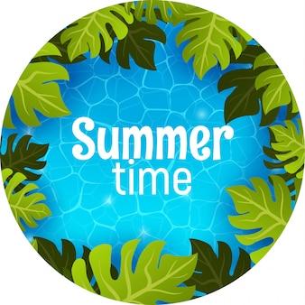 Piscina, vista superior. banner de cartel de horario de verano con palmera verde tropical