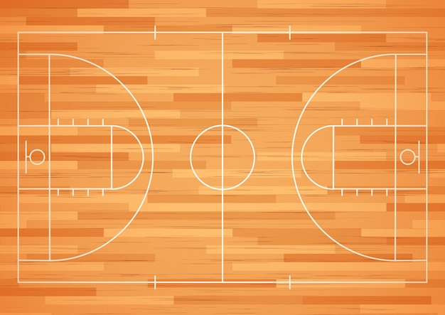 Piso de cancha de baloncesto con línea.