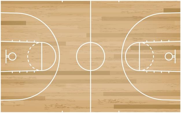 Piso de la cancha de básquet con la línea modelo en el fondo de madera.