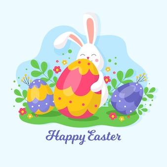 Piso feliz día de pascua conejo