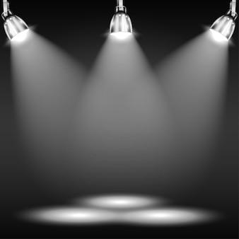Piso iluminado en cuarto oscuro