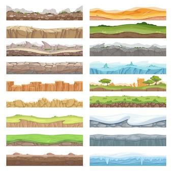 Piso de juego. fondo de textura de activos diferentes de piedras hielo tierra paisaje fondo transparente