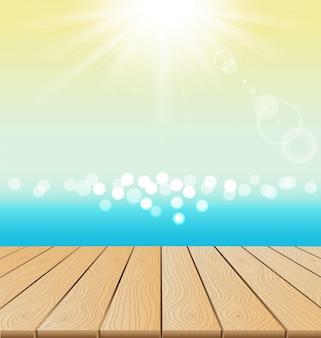 Piso de madera en la playa y brillo del sol para el verano