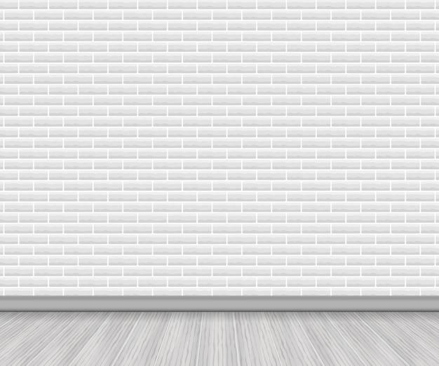 Piso de madera realista y ladrillo blanco.