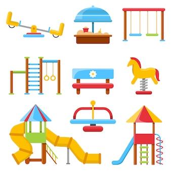 Piso de parque infantil con varios equipos