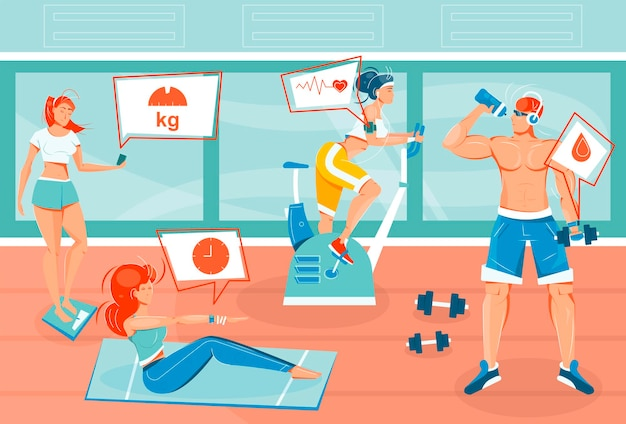 Piso con personas que usan aplicaciones y dispositivos deportivos durante el entrenamiento.