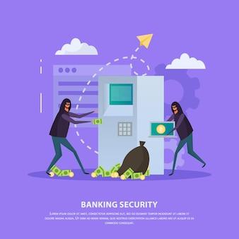 Piso de seguridad bancaria con piratas informáticos durante el robo de cajeros automáticos.