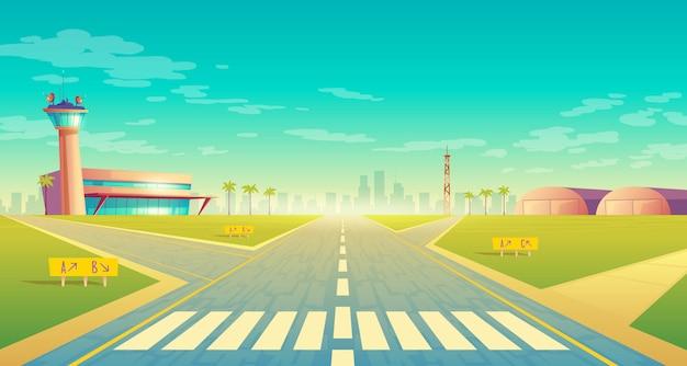 Pista de aterrizaje para aviones cerca de terminal, sala de control en torre. pista de asfalto vacía