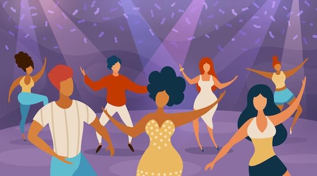 Pista de baile de la gente. mujeres y hombres felices bailando en la fiesta disco. bailarines de dibujos animados en concierto de discoteca. noche de música divertida en concepto de vector de club. ilustración discoteca bailando, fiesta y discoteca.