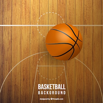 Pista de baloncesto realista con pelota