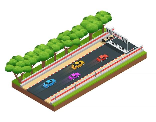Pista de carreras de coches composición isométrica con juego de carreras.