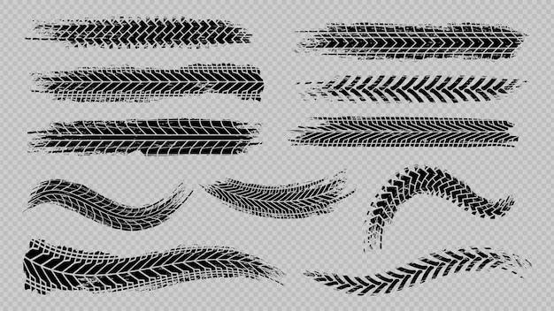 Pista de rastro de neumáticos. distancias de frenado de ruedas abstractas, cepillos de siluetas de la banda de rodadura. senderos vectoriales de automóviles o motocicletas aislados. vehículo neumático, caucho de pista de carretera, ilustración de textura de transporte