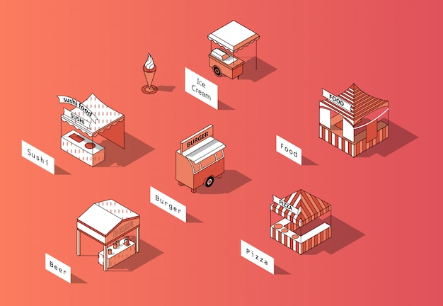 Pistas de comida isométrica 3d, mercado urbano.