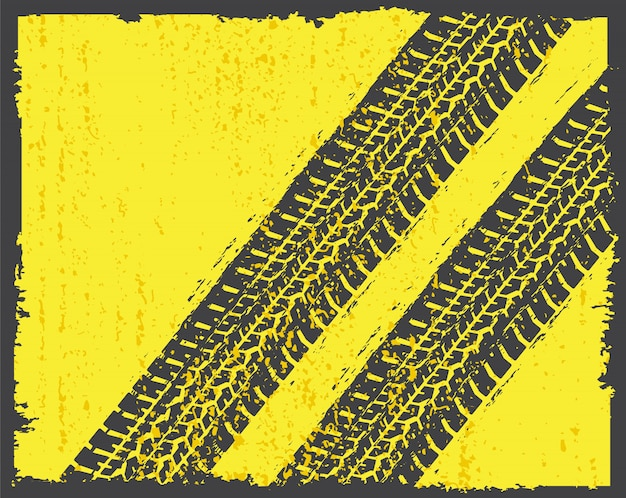 Pistas de neumáticos en estilo grunge.
