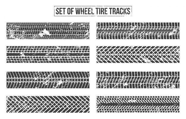 Pistas de neumáticos de ruedas. sinuoso rastro.