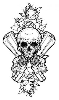 Pistola de arte del tatuaje y dibujo a mano calavera aislado