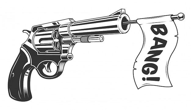 Una pistola con una bandera de explosión