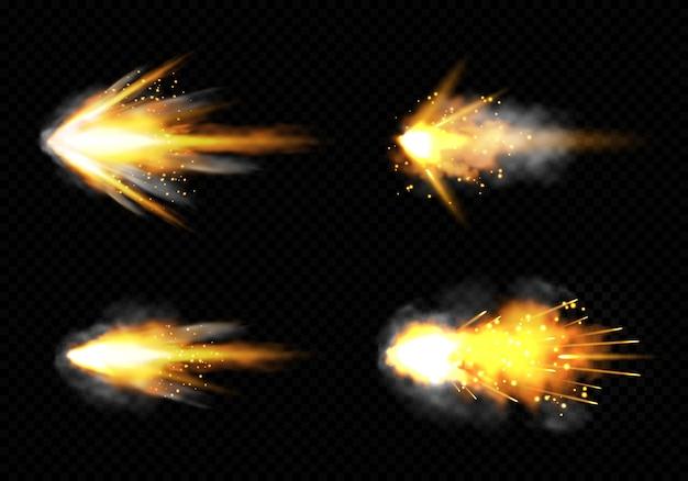 Pistola destella con fuego y humo. conjunto de disparos de pistola