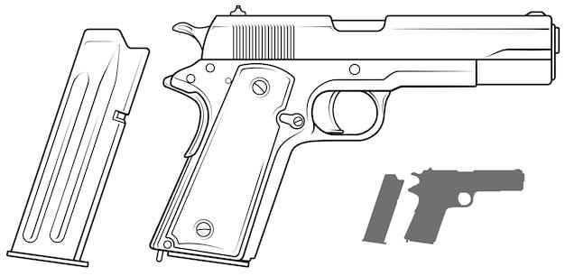Pistola gráfica en blanco y negro con clip de munición