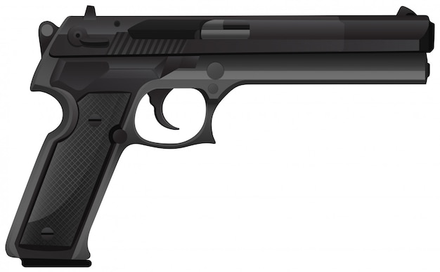Pistola negra sobre blanco
