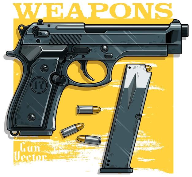 Pistola de pistola detallada con clip de munición.