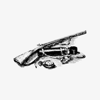Pistola vintage y accesorios.
