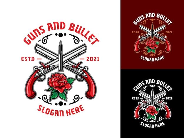 Pistolas de lujo y vintage, logotipo de balas y rosas rojas