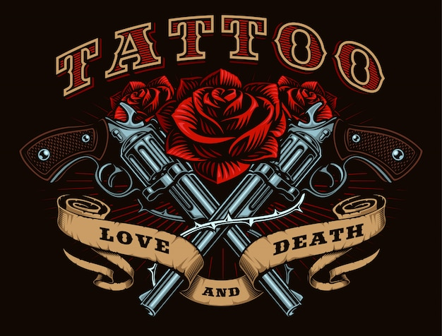 Pistolas y rosas, tatuaje, ilustración