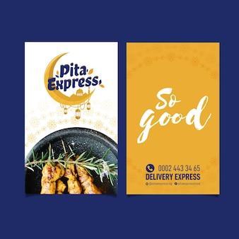 Pita express restaurant tan buena tarjeta de presentación