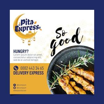 Pita express restaurant tan bueno flyer cuadrado
