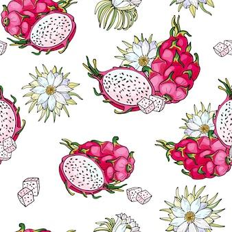 Pitaya rosa. patrón sin costuras comida tropical de verano para un estilo de vida saludable. dragón rojo de fruta entera y mitad, flor.