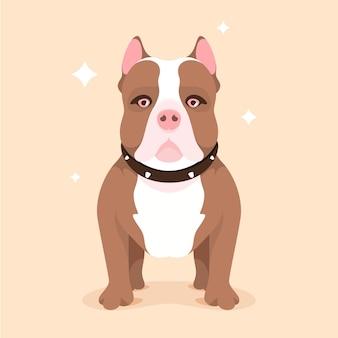 Pitbull de diseño plano ilustrado