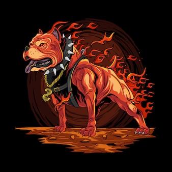 Pitbull de fuego de perro de las ilustraciones del infierno