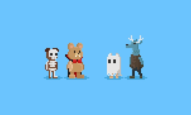 Pixel animal en disfraces de halloween