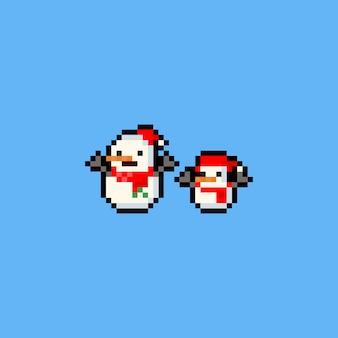 Pixel art 8bit icono de muñeco de nieve.