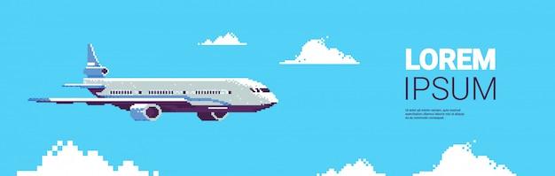 Pixel art avión avión volando en el cielo transporte aéreo de pasajeros aerolínea concepto de servicio horizontal