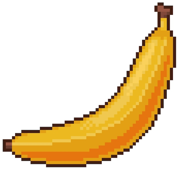 Pixel art banana bit juego icono fondo blanco.