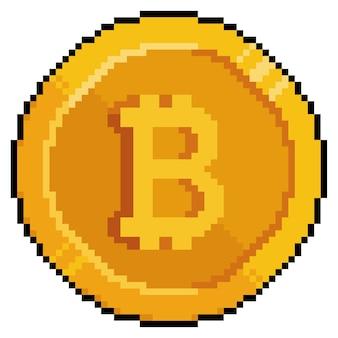 Pixel art bitcoin, moneda de oro, icono de juego de criptomonedas sobre fondo blanco.