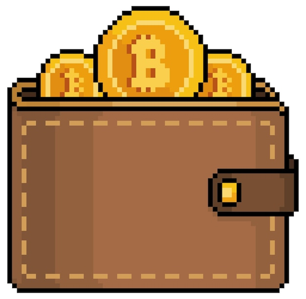 Pixel art bitcoin wallet inversión en icono de criptomonedas para juego de 8 bits sobre fondo blanco.