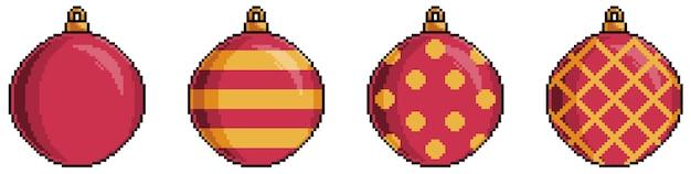 Pixel art bolas de navidad rojas elemento bit fondo blanco