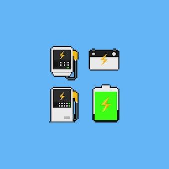 Pixel art cargador de coche eléctrico conjunto de iconos.