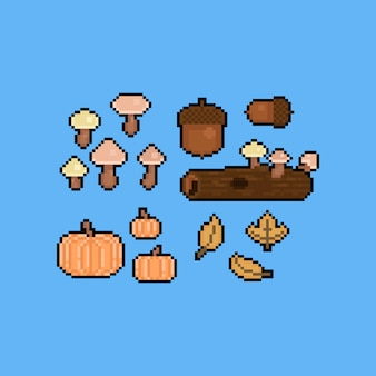 Pixel art cartoon autumn mushroom elements.8bit.