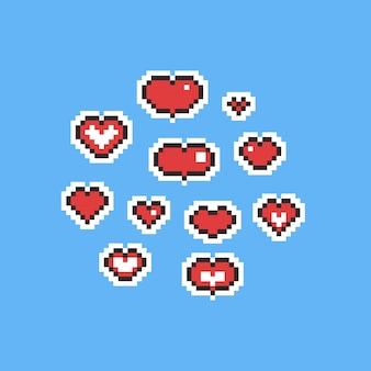 Pixel art cartoon corazón rojo conjunto de iconos.